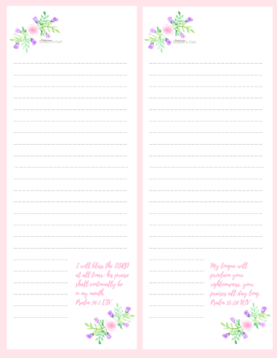 Pretty in Pink and Purple floral inspirational to-do list. Inscribed with scriptures from the Psalms.(1)