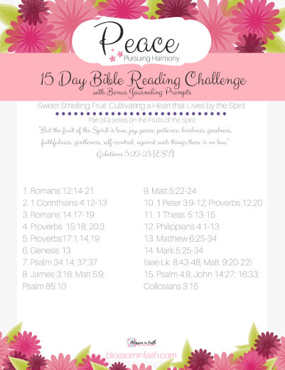 A closer look at the Fruit of Peace. 15 day topical Bible reading plan.