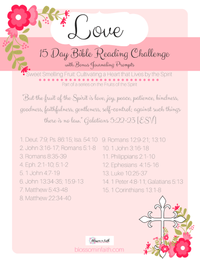 A closer look at the Fruits of the Spirit. Printable topical bible study reading Plan on Love. Also Includes bonus journaling paper with prompts.