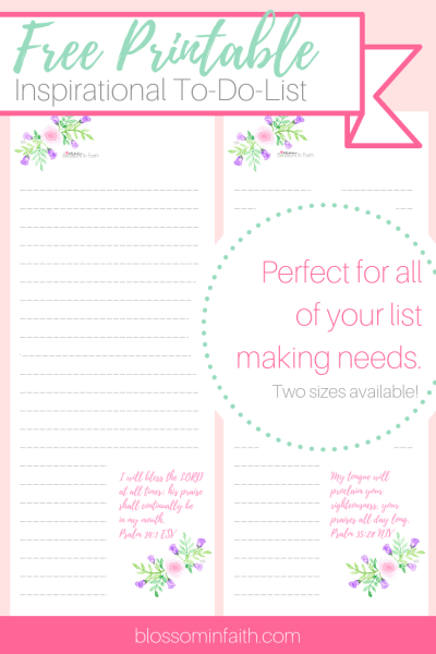 Pretty in Pink and Purple floral inspirational to-do list. Inscribed with scriptures from the Psalms. Free download and printable.