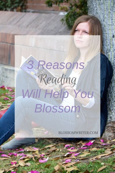 """Melissa McMillan sitting under a tree reading a book. Text reads, """"3 Reasons Reading Will Help You Blossom."""""""
