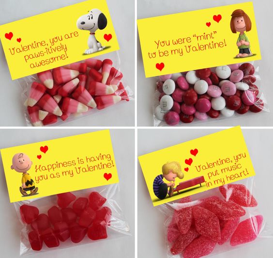 Charlie brown Valentines day treat toppers