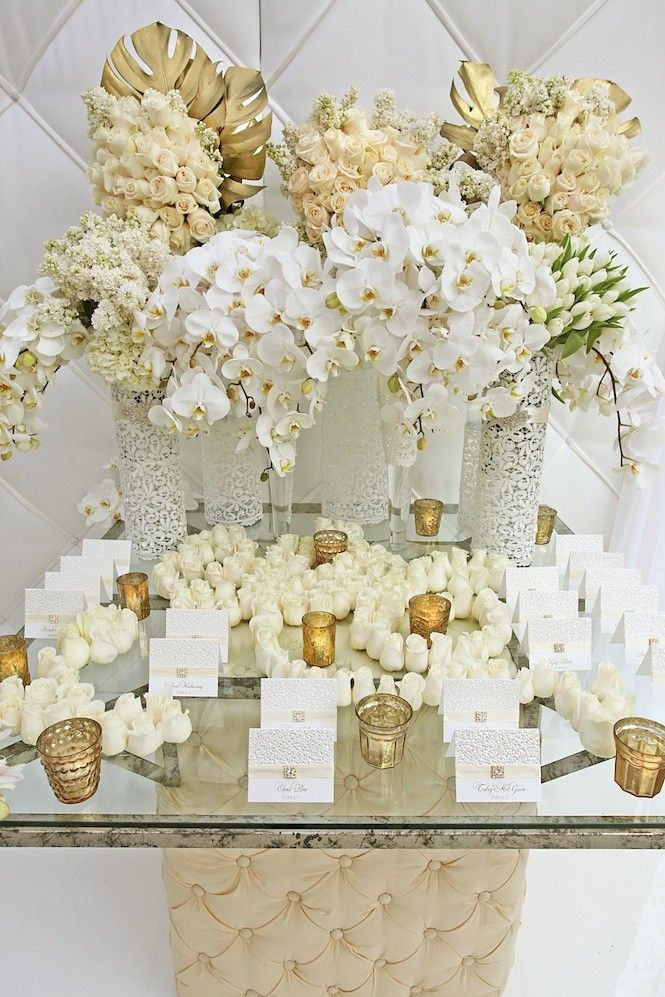 All White and Gold Beauitful Floral and Escort Card Display