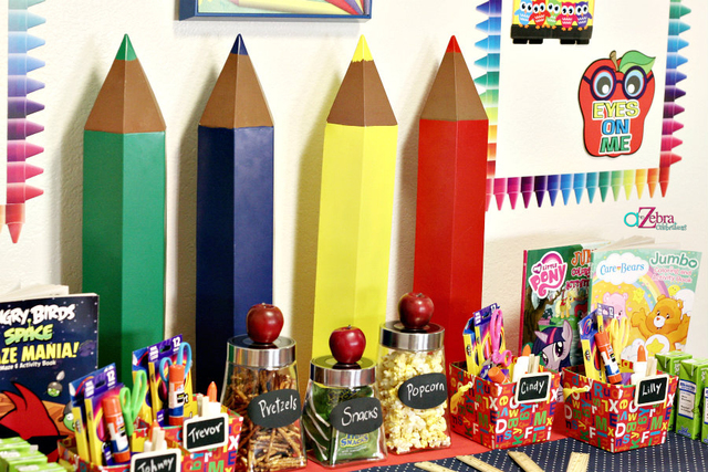 Cute colored pencils decor at this back to school party