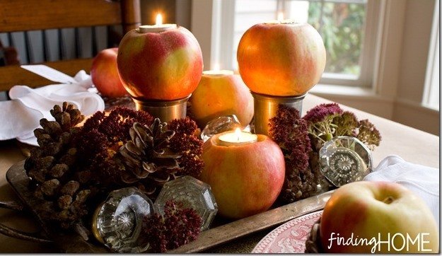 Apple Candle Fall Centerpiece Tablescape