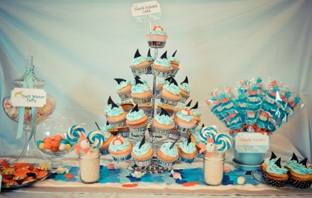 Shark Pool Party Ideas shark themed pool party ideas Cute Set Up For A Shark Party