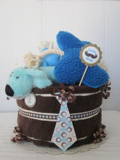 Towel and toys dog birthday cake