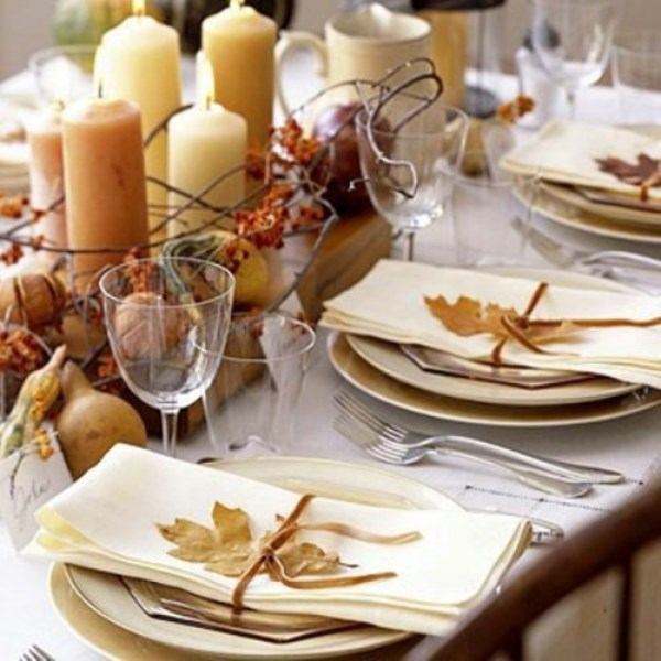 beautiful ivory and brown fall table decor