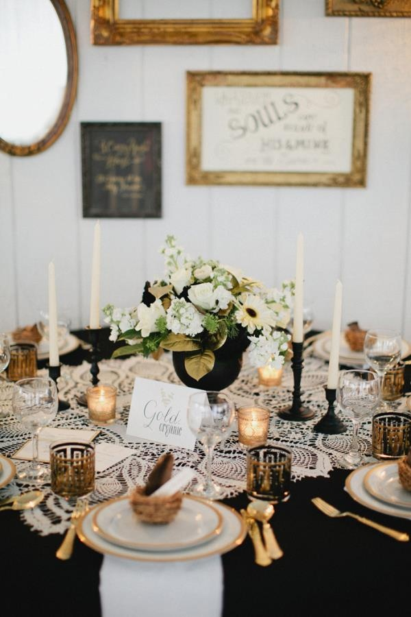 Black and Gold Wedding Tablescape With A Vintage Vibe.