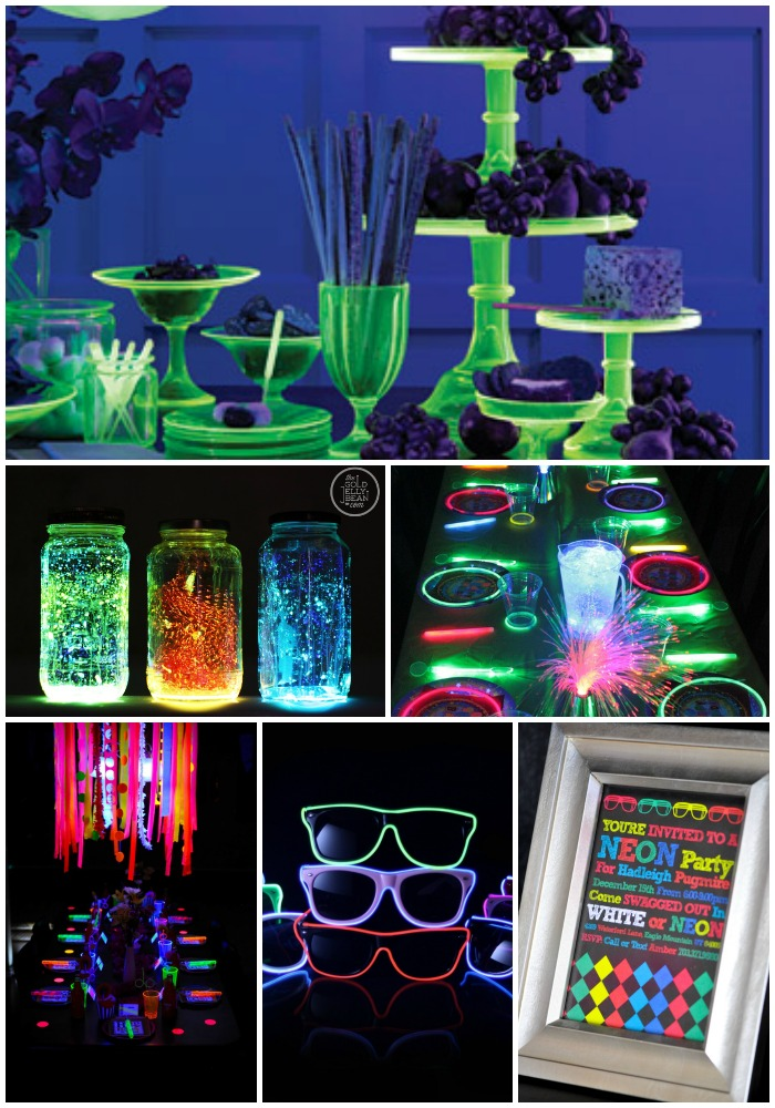 Over 15 Glow In the Dark Party Ideas for Fun with Kids and Teens - decorations, food ideas, and activities for games. These 20 Epic Glow In The Dark Party Ideas are perfect for a tween or teen birthday. Here you will find everything you need to create the perfect party! Put glow sticks on ceiling fan blades for an awesome glowing light show.