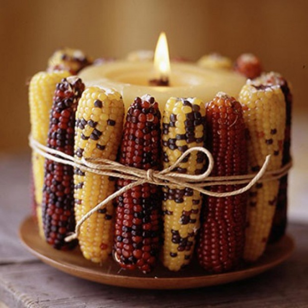how easy but lovely does this indian corn wrapped candle look to make we love this for thanksgiving get the diy tutorial from top dreamer - Candle Decorations