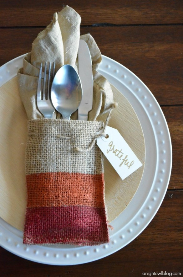 Painted burlap thanksgiving placesetting