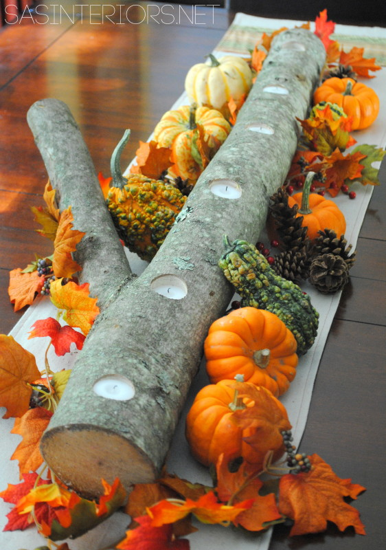 Thanksgiving Centerpiece made out of a log!