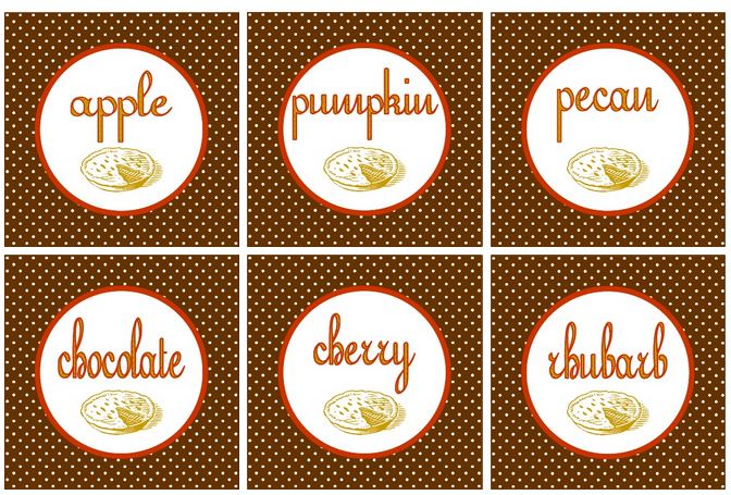 free pie lable printables for Thanksgiving