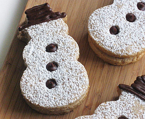 Chocolate filled Snowman cookies!