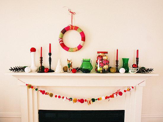 Colorful vintage Christmas Mantel