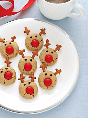 reindeer cookies with red noses!