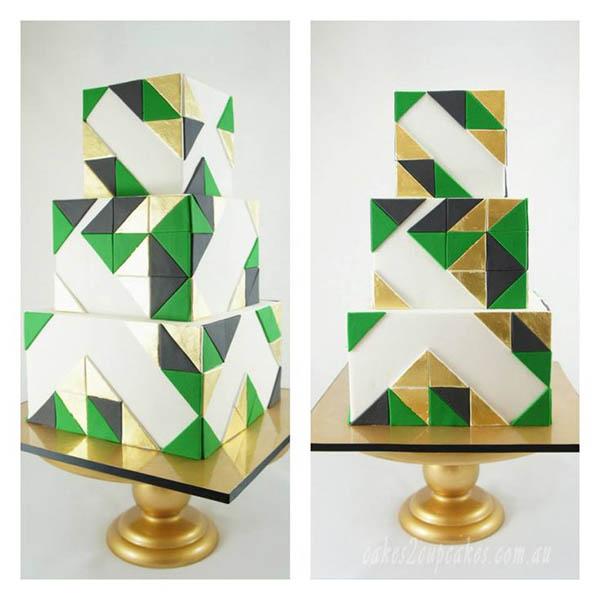 Emerald and gold wedding cake