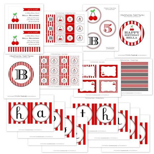 Striped cherry birthday party printable kit
