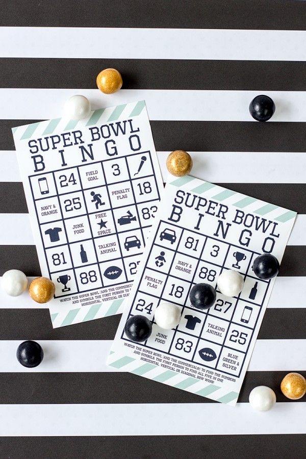 Super bowl games bingo
