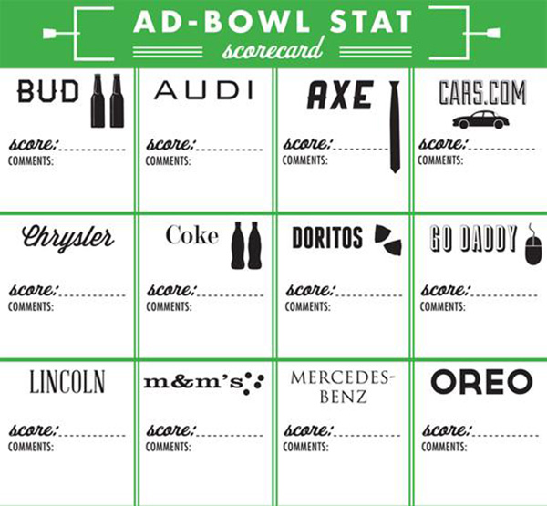 Super bowl party games-Commercial score card!