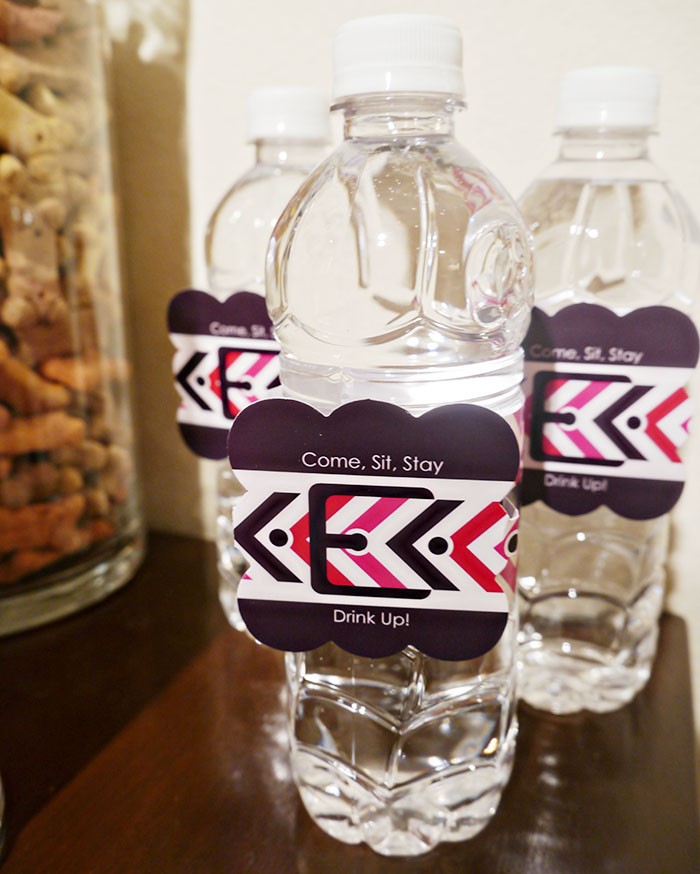 Water bottles at a dog party- B. Lovely Events