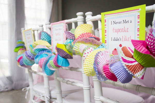 too cute cupcake party chairs- B. Lovely Events