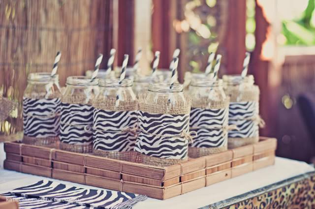 Awesome Zebra print mason jars for a safari party
