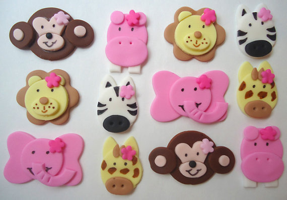 Ediable Cupcake toppers for a girls safari
