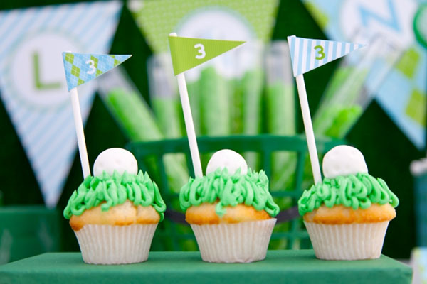 Cute Golf Ball Cupcakes for a golf party!