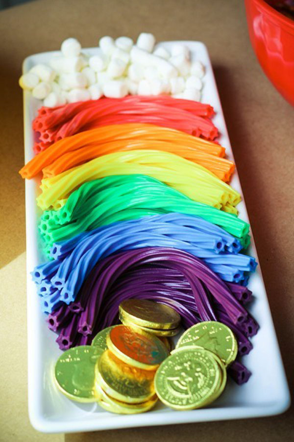 Rainbow treats for St. Patrick's day. Love the gold coins too!