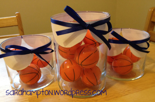 easy and lovely basketball centerpiece!