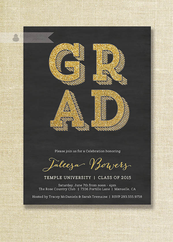 Adorable black and gold graduation party invite