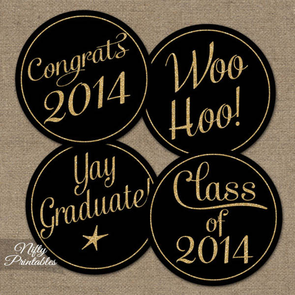 Black and gold graduation party printables