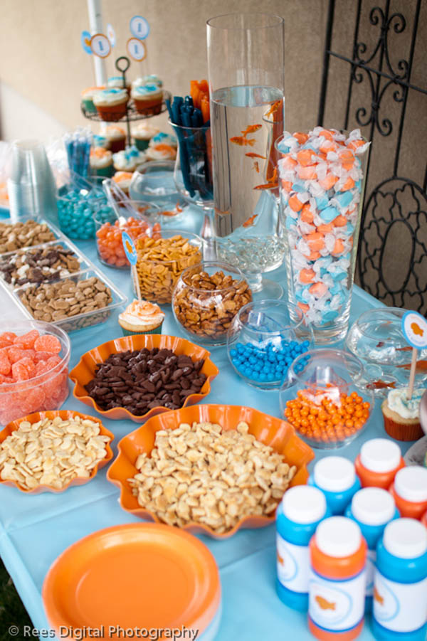 Cute goldfish party ideas on this table