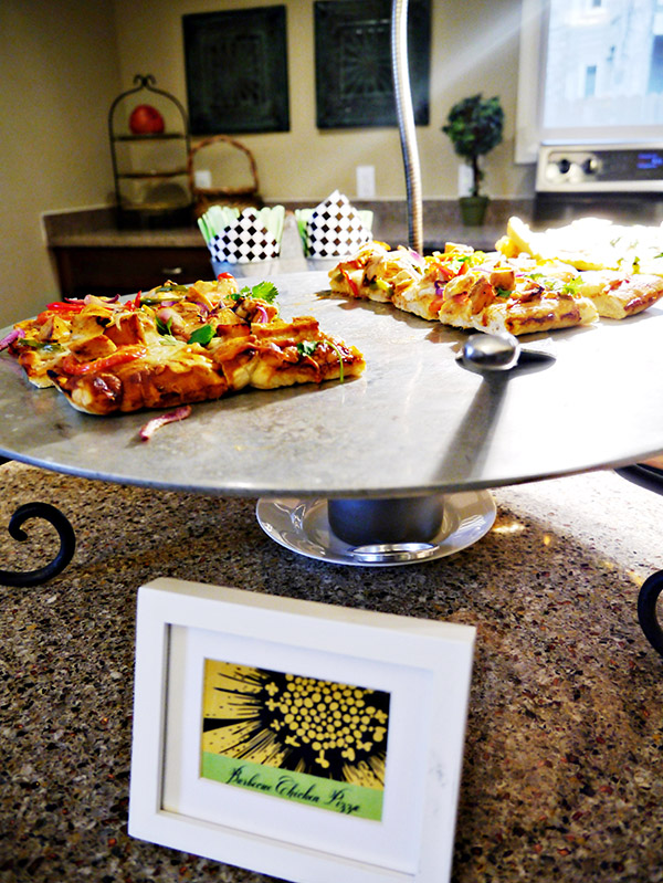 Gourmet Pizza station is perfect idea for an engagement party!