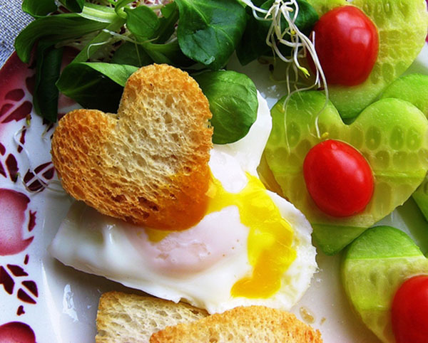 Heart shaped toast and eggs for a perfect Mother's day breakfast