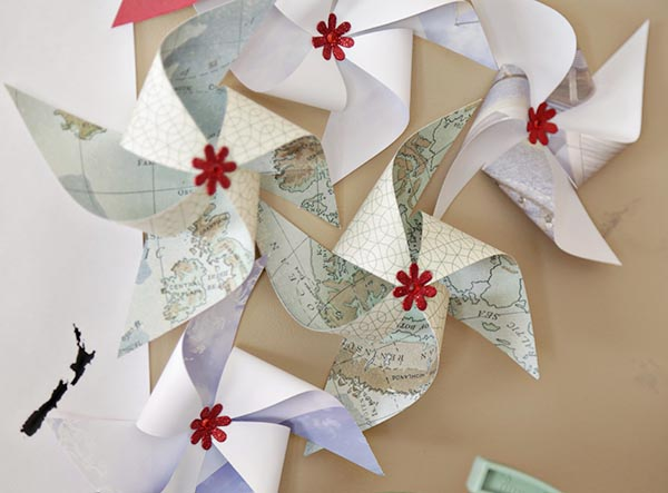 Map Pinwheels For Cute Treavel Theme Decorations