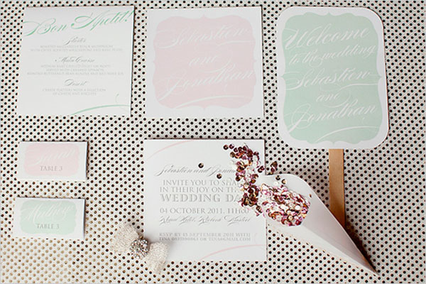Beautiful callagraphy pastel wedding invitation