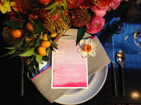 Gorgeous pastel wedding menu