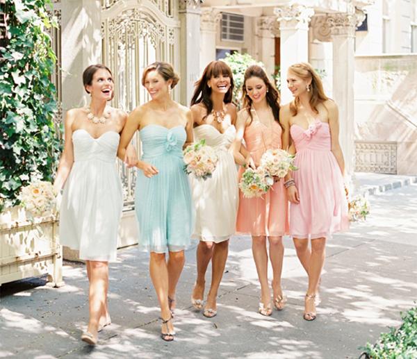 Pastel wedding dresses for bridesmaids!