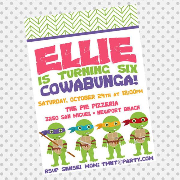 Cowabunga Teenage Mutant Ninja Turtles Party Ideas B Lovely – Ninja Turtle Party Invitation Ideas