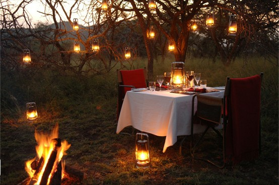 Romantic Outdoor dinner setting with lanterns- Cozy!