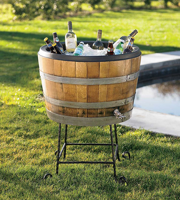 Wine Barrel Drink Cooler- Love this for an outdoor party!