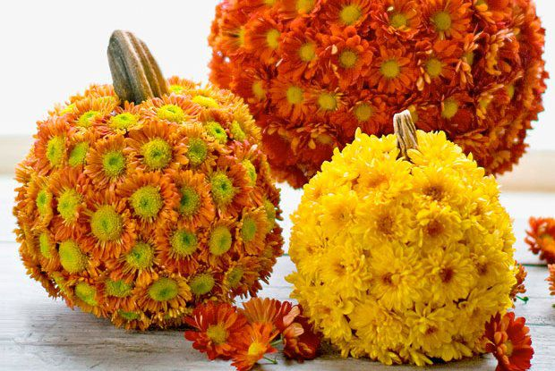 Love these Pumpkin Flower Decorations