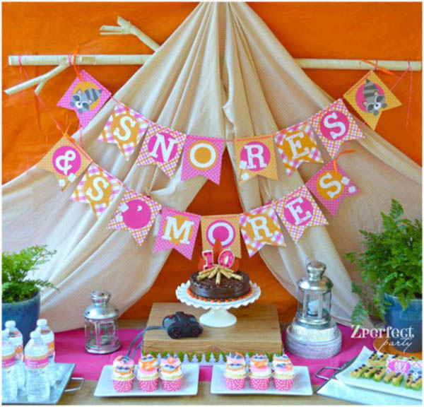 Lovely Pink And prange glamping party