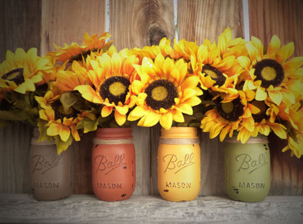 Mason Jars With Sunflowers -perfect for fall!