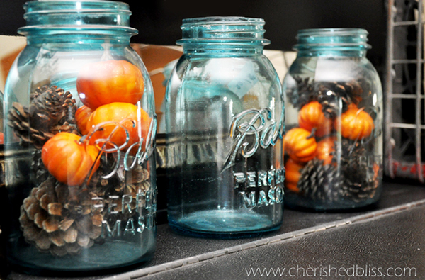 Rustic Vintage fall decor with mason jars