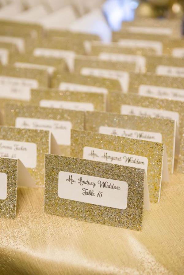 Gold Glitter Escort Cards