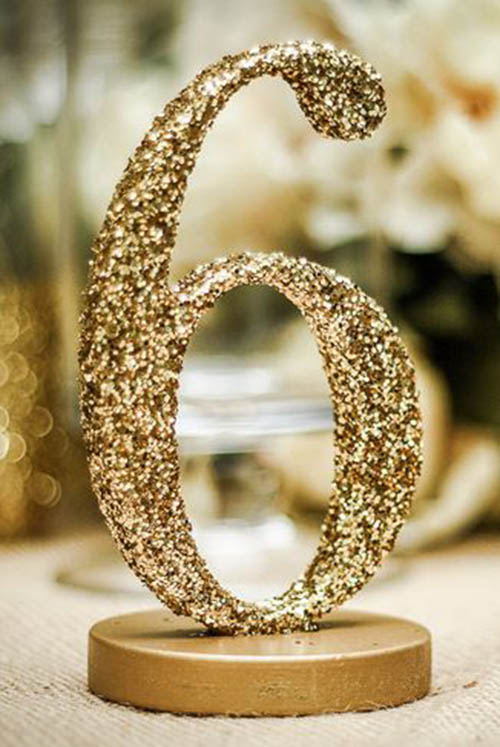 Lovely gold glitter wedding ideas b lovely events for Glitter numbers for centerpieces